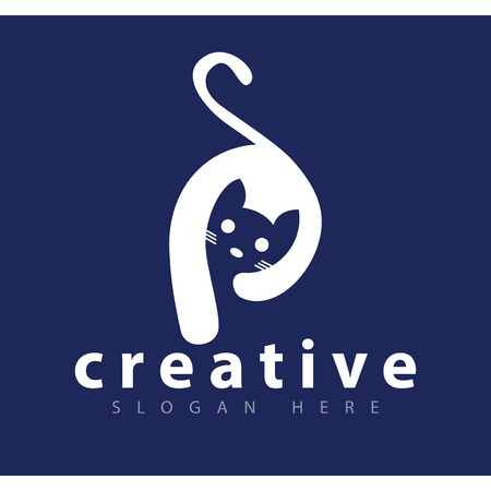 P initial letter with cat logo vector template Vettoriali