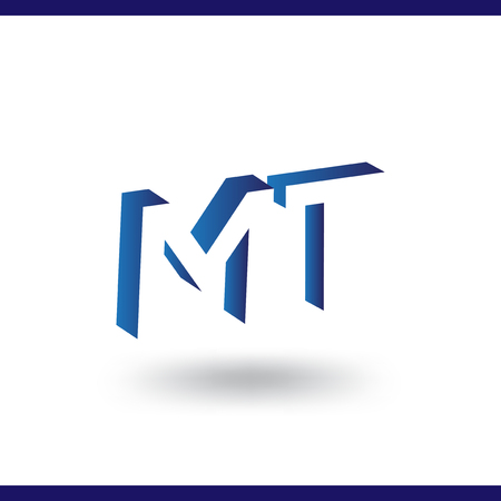MT initial letter with negative space logo icon vector template 일러스트