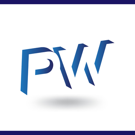 PW initial letter with negative space logo icon vector template