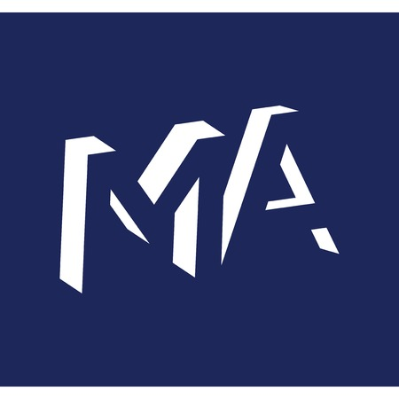 MA initial letter with negative space logo icon vector template