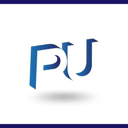 PU initial letter with negative space logo icon vector template