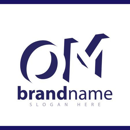 OM initial letter with negative space logo icon vector template