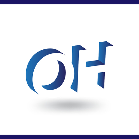 OH initial letter with negative space logo icon vector template