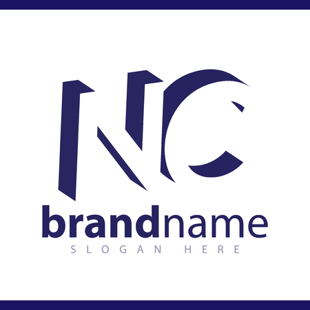 NC initial letter with negative space logo icon vector template