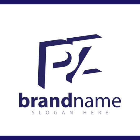 P Z initial letter with negative space logo icon vector template