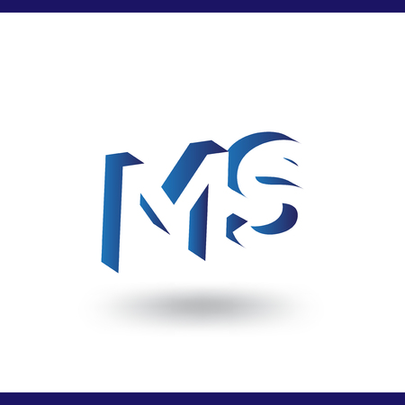 MS initial letter with negative space logo icon vector template