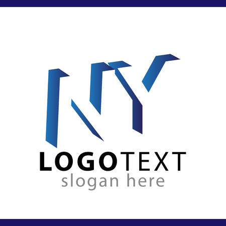 NY initial letter with negative space logo icon vector template Illustration