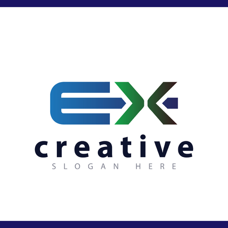 ex initial letter logo vector template