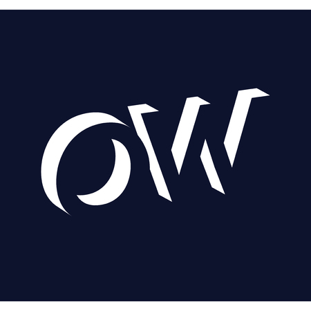 OW initial letter with negative space logo icon vector template