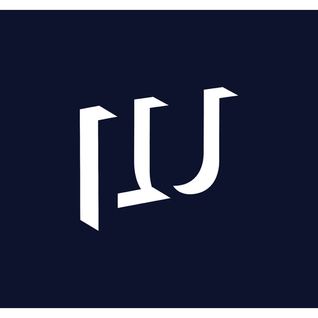 LU initial letter with negative space logo icon vector template