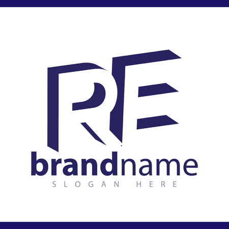 RE initial letter with negative space logo icon vector template