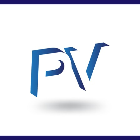 P V initial letter with negative space logo icon vector template 일러스트
