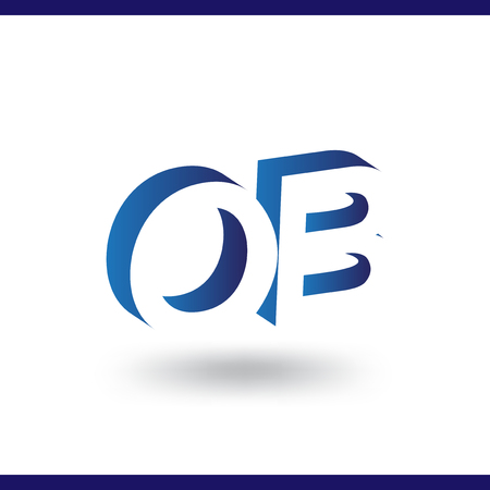 OB initial letter with negative space logo icon vector template
