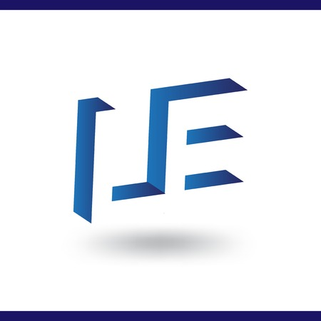 LE initial letter with negative space logo icon vector template