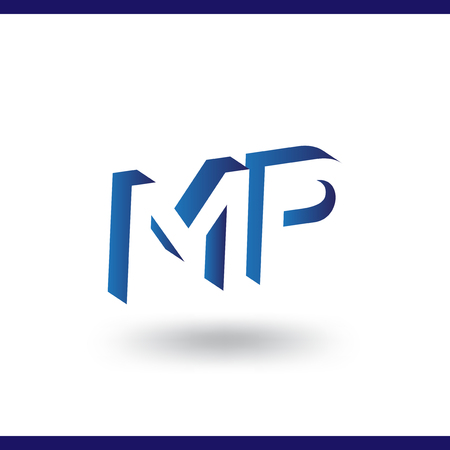 MP initial letter with negative space logo icon vector template