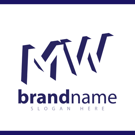 MW initial letter with negative space logo icon vector template