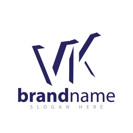 VK Initial Letter logo in negative space vector template