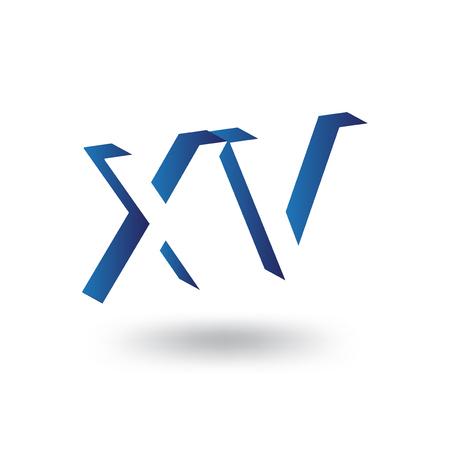 X V Initial Letter logo in negative space vector template Logo