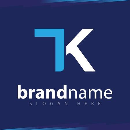 T K Initial Letter Logo Vector Template