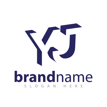 Y J Initial Letter logo in negative space vector template Ilustracja