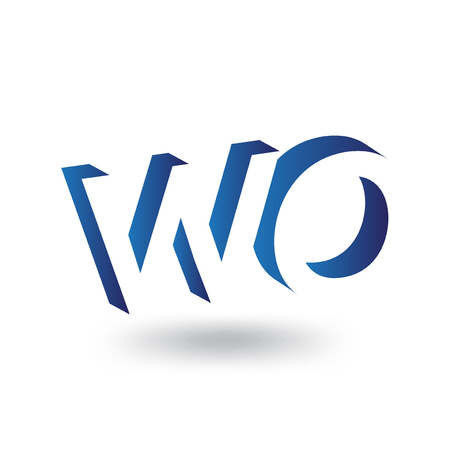 WO Initial Letter logo in negative space vector template