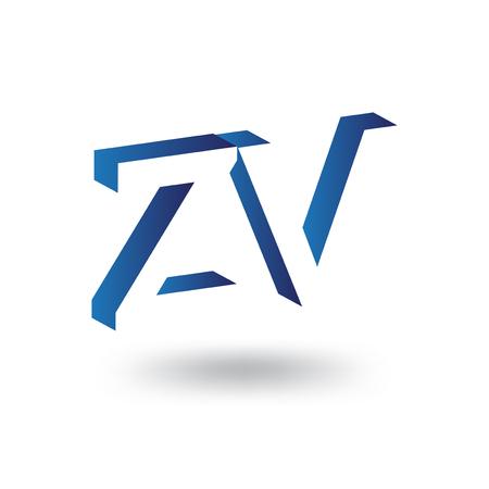 Z V Initial Letter logo in negative space vector template Logo