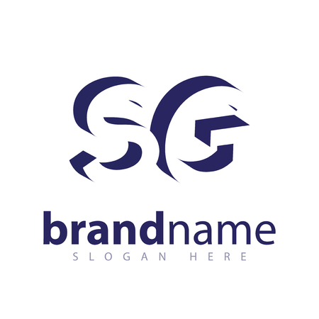 S G Initial Letter logo in negative space vector template