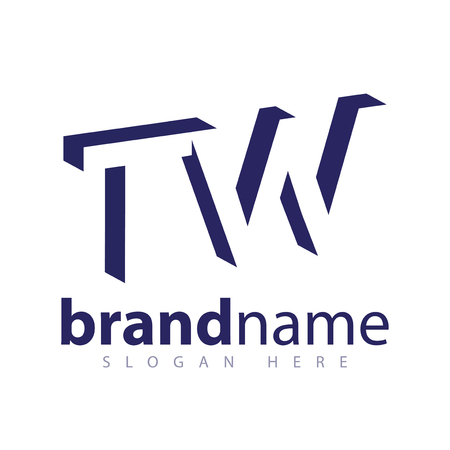 T W Initial Letter logo in negative space vector template