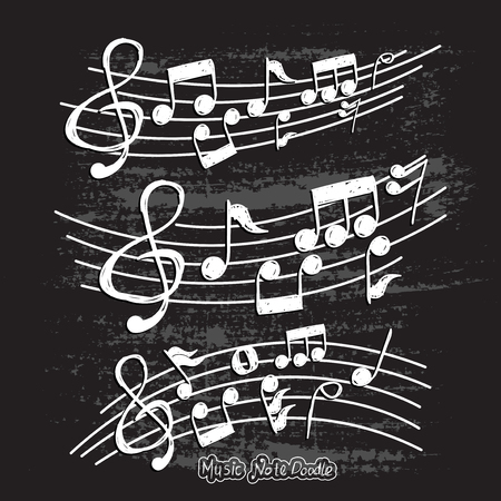 Music note design element in doodle style