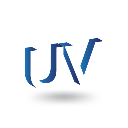 UV Initial Letter logo in negative space vector template