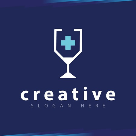 Glass Medical line art logo vector template