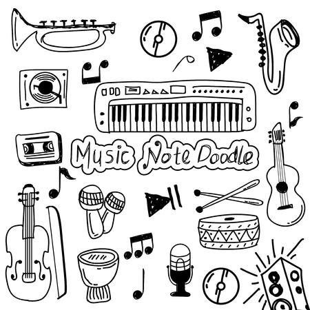 set of music doodle vector Ilustração