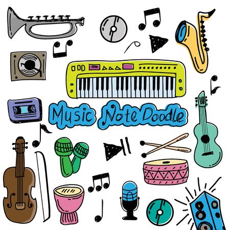 set of music doodle color vector Ilustração