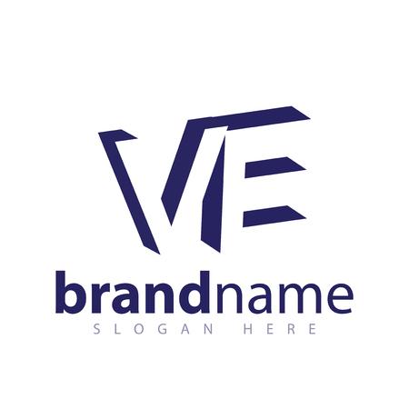 V E Initial Letter logo in negative space vector template Logo