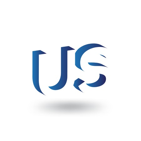 US Initial Letter logo in negative space vector template