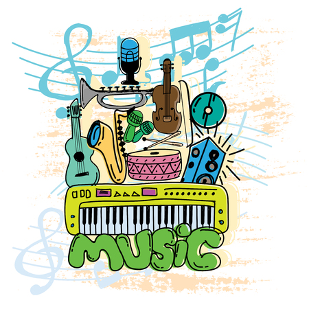 set of music doodle color vector 向量圖像