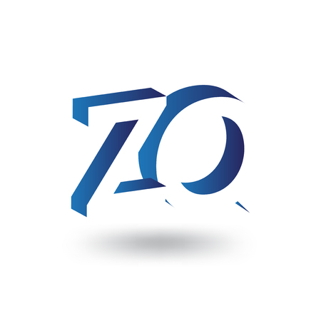 Z Q Initial Letter logo in negative space vector template