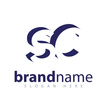 SC Initial Letter logo in negative space vector template