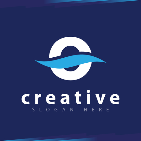 o Letter wave Logo Vector template