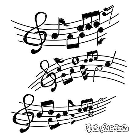 Music note design element in doodle style Ilustração