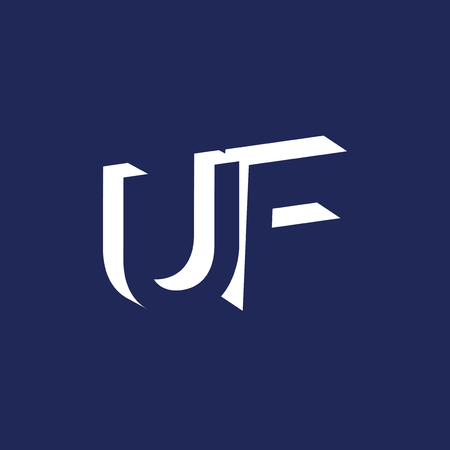 UF Initial Letter logo in negative space vector template
