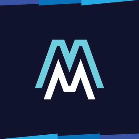 MM Initial Letter Line Logo Vector