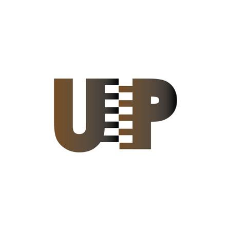 UP Initial Letter with Zip Logo Vector Ilustração