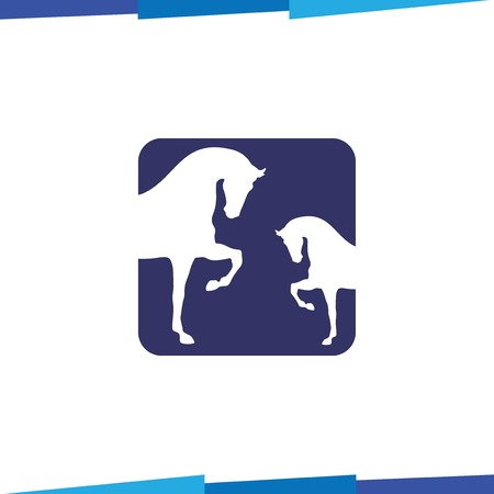 Horse in square negative space Logo vector