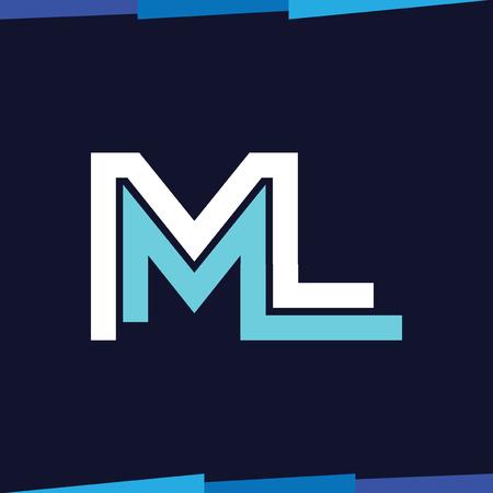 ML Initial Letter Line Logo Vector