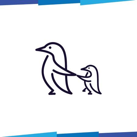 Line Penguin logo vector template