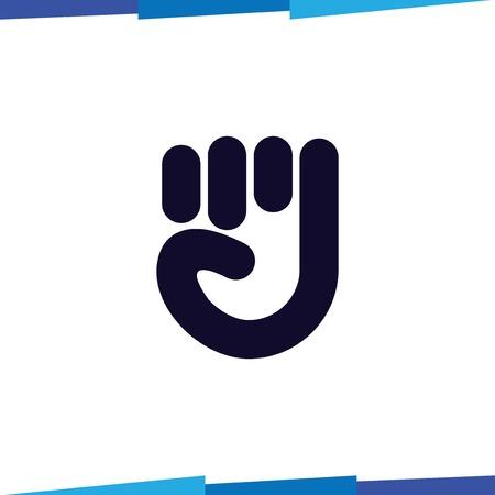 grasping hand line logo vector