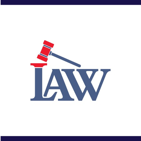 Modèle vectoriel de droit et de marteau droit logo