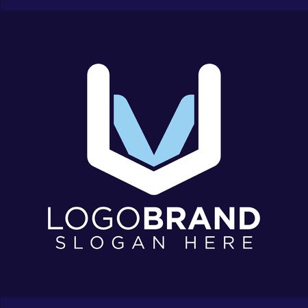 VU Initial Letter Logo Vector template Ilustração