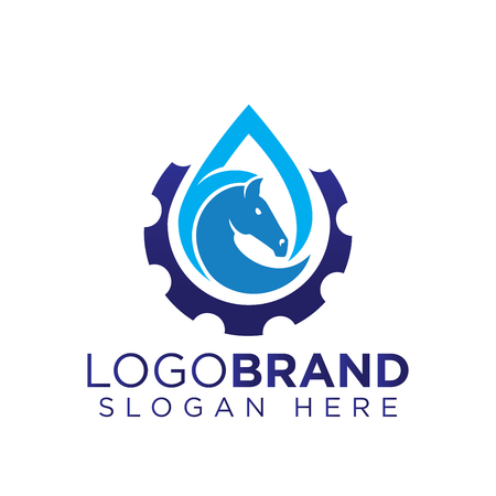 Water droplet with horse farm logo vector Illustration